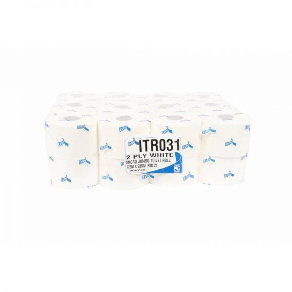 Micro Jumbo Toilet rolls 2 Ply White  24 Pack
