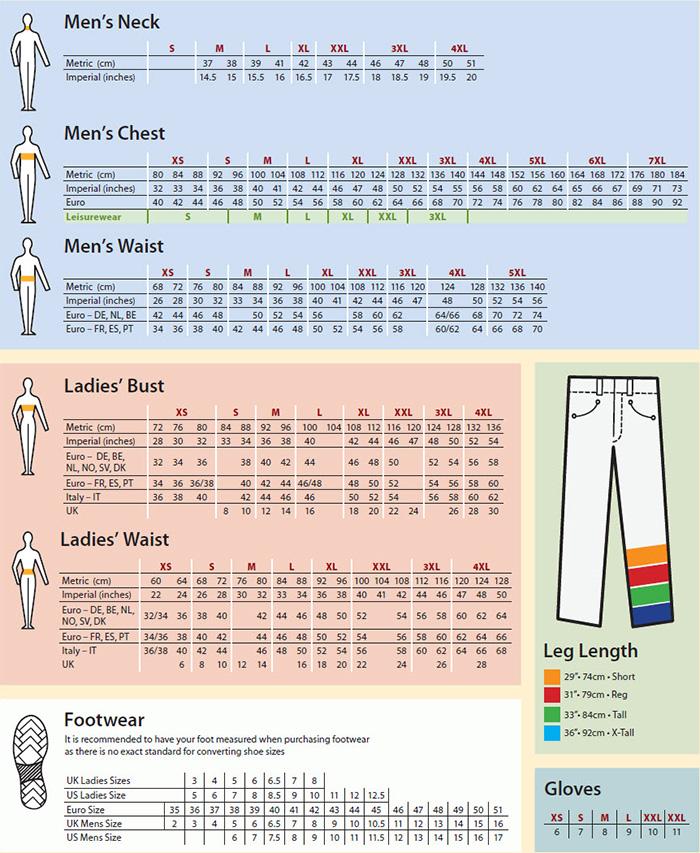 Portwest Size Chart